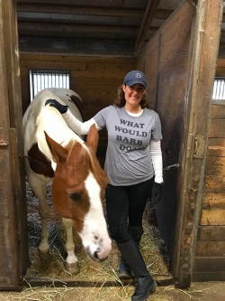"Fairfield's school horse ""Eagle"" (show name: Soar Like an Eagle) with Barb's SMART niece, Kendra (look at that shirt!!)!"