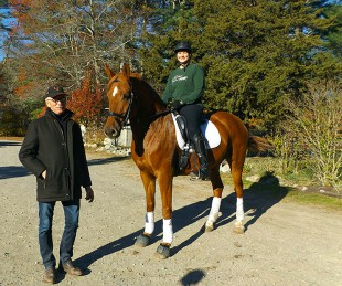 Larry & Adriana riding Finley at one of Fairfield's Larry Poulin Dressage Clinics!