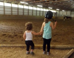 Hannah & Aubrey waiting for their pony rides!!