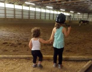 Hannah & Aubrey waiting for their pony rides!!